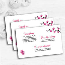 Pink Cherry Blossom Watercolour Personalised Wedding Guest Information Cards