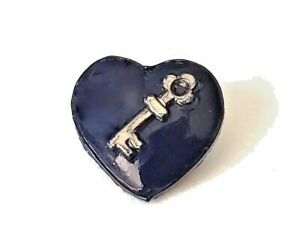 """Tiny Little Dark Blue Glass Heart Shape with Silver Key…Vintage Button…7/16"""""""