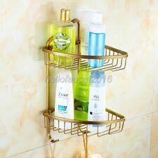Antique Brass Bathroom Shower Caddy Corner Wire Basket Storage Shelves lba076