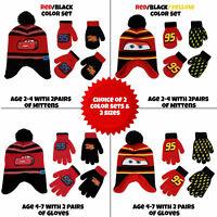 Disney Cars Hat and 2 Pair Mittens/Gloves Cold Weather Set, Little Boys, Age 2-7