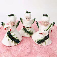 Vintage Set/3 Lefton Christmas Angel Figurines Holly Berries Flute Banjo Caroler