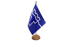 Tyne et vêtement table drapeau avec en bois socle