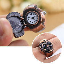 Convenient Men Skull Finger Ring Watch Cool Punk Quartz Clamshell Ring Watch