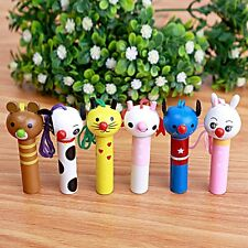 10PCS Baby baptism gift animal wooden whistle baby shower favors souvenir gift