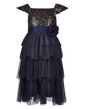 Monsoon Akari Velvet Sequin Dress - Navy Blue - Girls Age 6 Years - Box6705 G