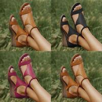Women's Ladies Wedge Heel Peep Toe Sandals Vintage Summer Back Zipper Shoes Size