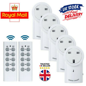 1-5 Remote Control Sockets Wireless Switch Home Mains Power Outlet Pack UK Plug