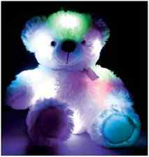 CHILDREN'S SOFT CUDDLY NIGHT LIGHT UP COLOUR CHANGING TEDDY BEAR TOY R05-0032