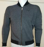 Under Amour Mens Bomber Sz M Full Zip Coldgear Jacket Loose Fit Gray Heather