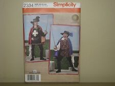 Simplicity costume pattern 2334 sz XS S M musketeer cape puffy shirt hat boots