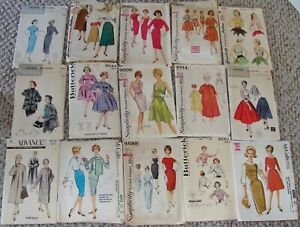 Lot of 15 Bust 32 & 33 Vintage Sewing Patterns 1950's 1960's
