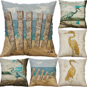 Egret Print Pillow Case Sofa Car Waist Throw Cushion Cover Home Decoration