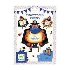 DJECO 8 Einladungskarten Piraten mit Stickern und 8 Umschlägen Kindergeburtstag