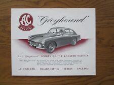 Original Motoring sales brochure, Bristol cars, A.C. Greyhound. 1959-63.