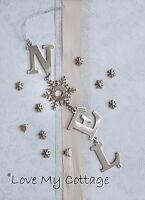 Hanging Metal Silver NOEL Snowflake Christmas Tree Decoration Sentiment Garland