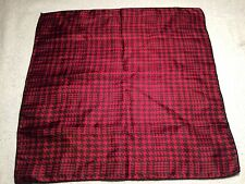 "MENS POCKET SQUARE HANDKERCHIEF 100% SILK RED WITH BLACK 14"" X 14"""