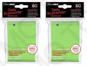 2x 60 120 ULTRA-PRO Sleeves Small Size YuGiOh Card Game Sleeves 84100 Lime Green