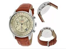 NEW Rotary Men's Cream Dial Chronograph Brown Strap Watch