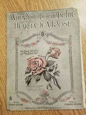 Vintage Sheet Music Piano Song Vocal When you Look Heart of A Rose Better Ole