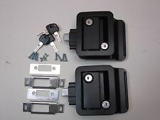 2 Black RV Entry Door Lock Handle w / deadbolt Camper Trailer FIC Keyed A Like