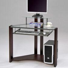 Glass Top Slide out Keyboard Cherry Wooden Frame Triangle Corner Computer Desk