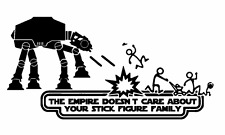 Vinyl Decal Sticker Car Star Wars The Empire Doesn't Care Stick Figure Family v2