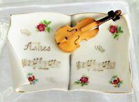 Vintage Lenwile Artdalt Hand Painted Violin Porcelain Trinket Dish Ashtray 1950s