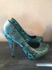 BNWT Blue Snakeskin Stileto Platform Court Shoes Heels Animal Print Size 6 39