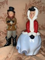 2 Vtg ATLANTIC MOLD HAND-PAINTED CERAMIC CHRISTMAS CAROLER'S BOY & GIRL