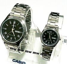 CASIO Day Date ANALOG DRESS COUPLE LOVER PAIR MTP/LTP-V006D-1B Stainless Steel