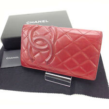 Chanel Wallet Purse Long Wallet Cambon line Red Woman Authentic Used Y1743