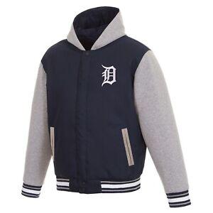MLB  Detroit Tigers  JH Design Two Tone Reversible Fleece Hooded Jacket