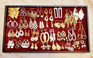 34 Piece Vintage & Modern Mixed Tone Dangle/Chandelier Pierced Earring Lot