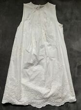 MNG Mango Women's Embroidered Dress Sz 6 Sleeveless White Lined Button FS