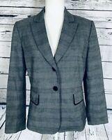 Tahari Women's Size 10 Petite Blazer Long Sleeves Two Button Grey & Blue Lined
