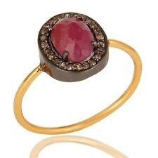 14K Solid Yellow Gold Pave Diamond Natural Ruby Gemstone Engagement Ring