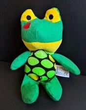 "Kellytoy Plush Beanbag Frog Toad 8"" Stuffed Green Animal Heart On Cheek"
