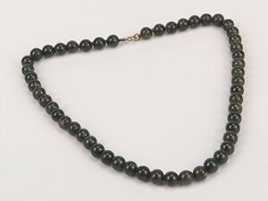 Vintage Chinese Green Jade Bead Necklace