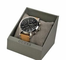 Guess Men's ELEVATION Analogue Quartz Watch with Leather Strap W0789G1