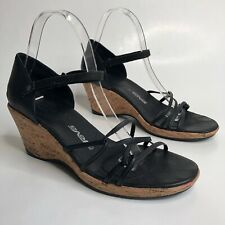 Teva Riviera Black Leather Strappy Sandals Size 9 40 Cork Wedge Ankle Strap