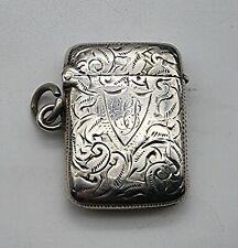 More details for nice  antique sterling silver vesta case birmingham 1902
