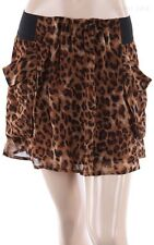 Leopard Print Stretchable Waistband Thigh Length Skirt with Pockets Casual S M L