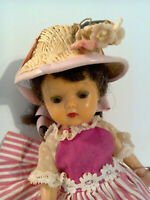 "Vintage 1950s 8"" Walker NASB Muffie Doll Brown Eyed Brunett Pony Tail Pink Dress"