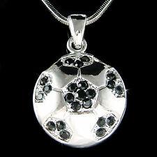 w Swarovski Crystal ~Black Football Soccer Ball~ World Cup Charm Necklace Unisex