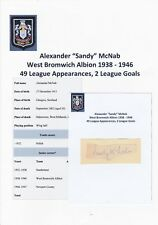 SANDY McNAB WEST BROMWICH ALBION 1938-1946 RARE ORIGINAL HAND SIGNED CUTTING