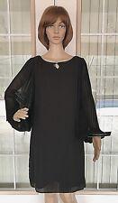 NEW Women's SHARAGANO Black Dress Lined Sheer Long Sleeves ~ Size 10