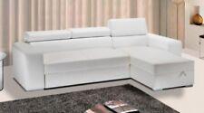 Divano letto 264 cm ecopelle bianco vano contenitore sofà soggiorno moderno |O1