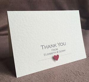 10 x Wedding Thank You Cards (Handmade & Personalised) Elizabeth