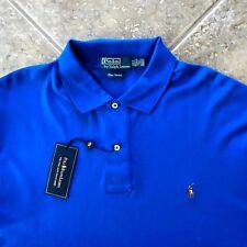 Polo Ralph Lauren Performance Jersey Shirt S Barclay Blue w/Orange Pony NWT $95