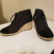 Toms Black Canvas Lace Up Wedge Platform Shoes size 8 US